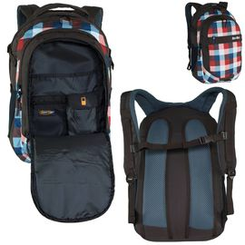 Schulrucksack BestWay Rucksack Backpack Karomuster graubr//ziegelrot 31x48x19 cm